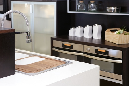 Brown wood kitchen modern stainless steel decoration house Stock Photo - 8424217