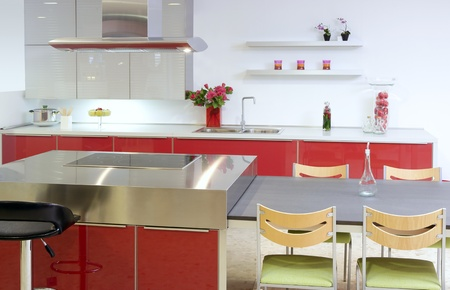Red island kitchen silver modern interior house architecture Stock Photo - 8425956
