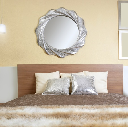 bedroom modern silver mirror fake fur african blanket photo