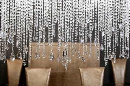 crystal: dining room modern crystal strass lamp and crocodile golden chairs
