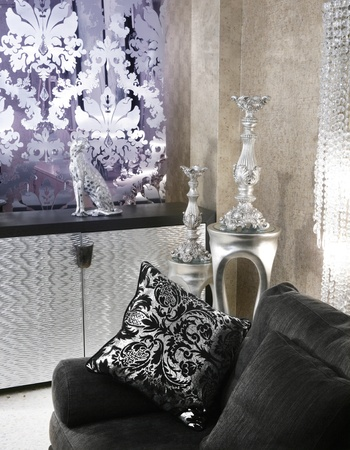 living room coach black sofa silver furniture background Stock Photo - 8424979