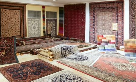 Arabic carpet shop exhibition colorful carpets exposition room Stock Photo - 8427062