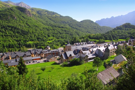 huesca: Panticosa village high view slate roofs Pyrenees Huesca Spain Stock Photo