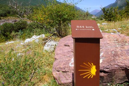 xacobeo: Sain James way sign in track Spain Pyrenees Huesca