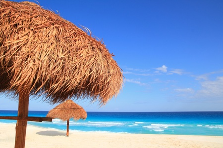 palapa sun roof beach umbrella in caribbean photo