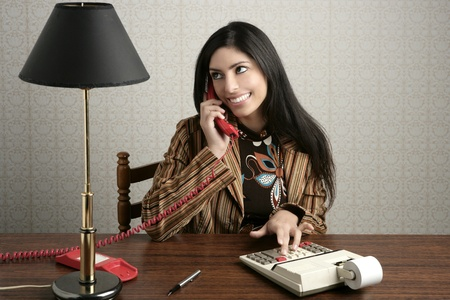 accountant retro secretary telephone talking woman vintage office wooden table wallpaper photo