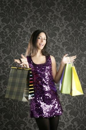 indian sexy: Shopaholic fashion woman colorful bags retro dark gray wallpaper