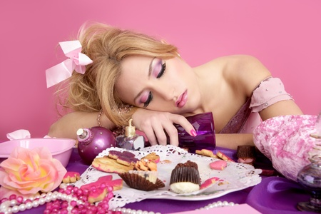 drunk party princess barbie pink fashion woman on messy table Stock Photo - 8621649