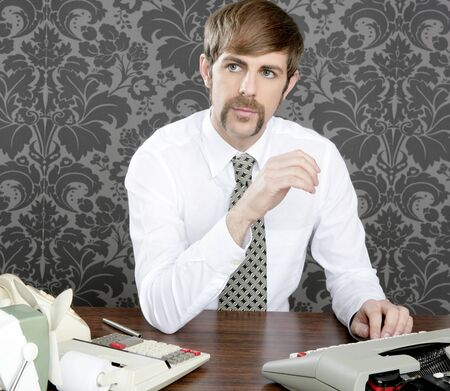 retro mustache businessman office desk on vintage wallpaper photo