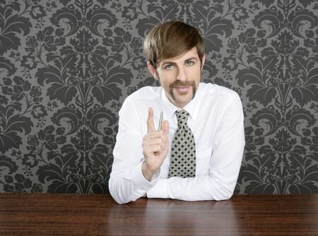 salesperson: businessman retro on office table salesperson vintage wallpaper Stock Photo