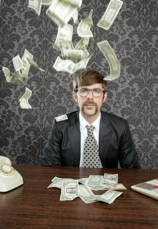 nerd businessman retro office flying dollar notes vintage wallpaper photo