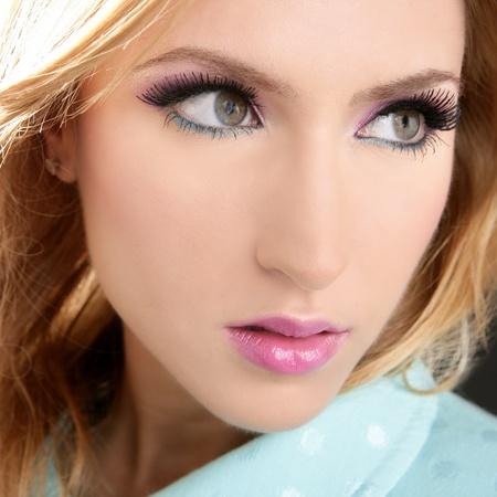blonde face makeup macro detail pink fashion lipstick eyeshadow photo