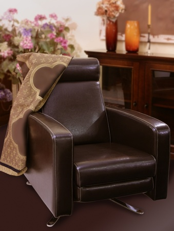 brown leather sofa armchair classic style interior decoration photo
