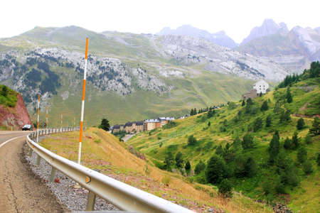 Canfranc Village and Pyrenees mountains in spain from  road photo