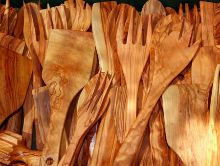 cutlery olive tree wood spanish traditional fork spoon palettes kitchenware Stock Photo - 8795277