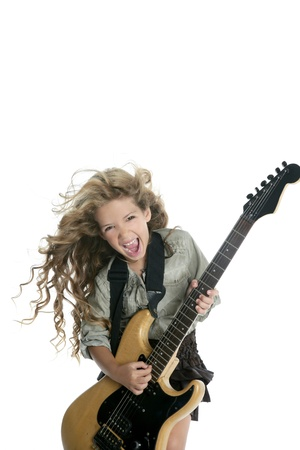 hardcore: little blond girl playing electric guitar hardcore wind blowing hair