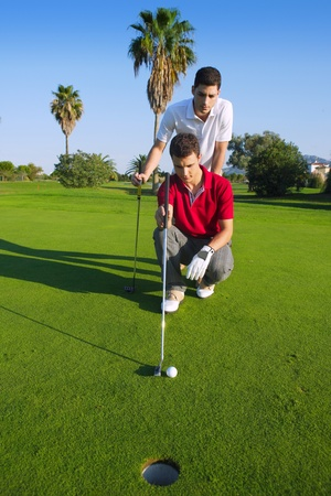 putting green: young man playing golf looking and aiming for the hole