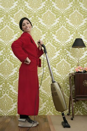 red bathrobe: Bathrobe retro housewife woman vacuum cleaner vintage sixties wallpaper