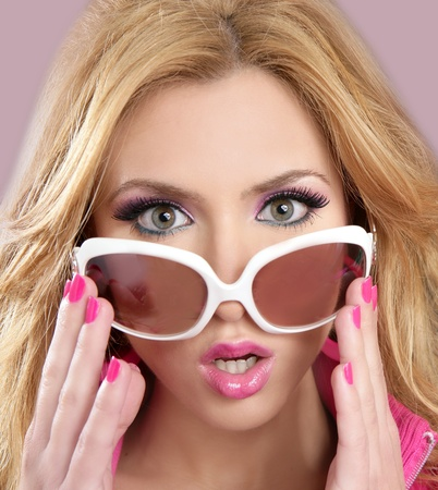 fashion barbie doll style blode girl pink makeup white glasses 1980s photo