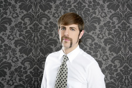 businessman retro mustache over gray wallpaper tie and shirt photo
