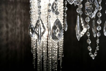 crystal strass lamp white over black background luxury interior design Stock Photo - 8795231