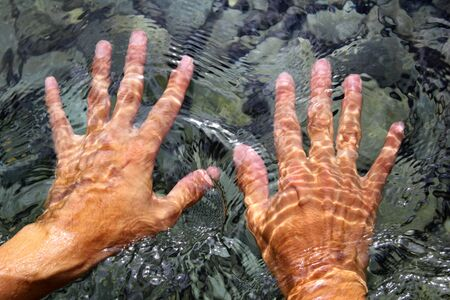 hands underwater river water wavy distorted shapes photo