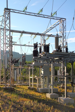 electric transformer station little village size outdoor forest photo