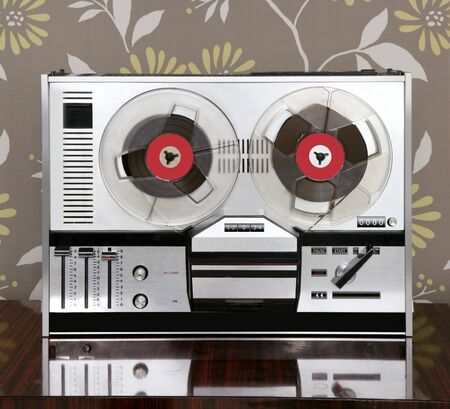 tape recorder: classic retro reel to reel open 60s vintage music recorder