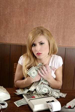 greed money retro beautiful woman office vintage accountant photo