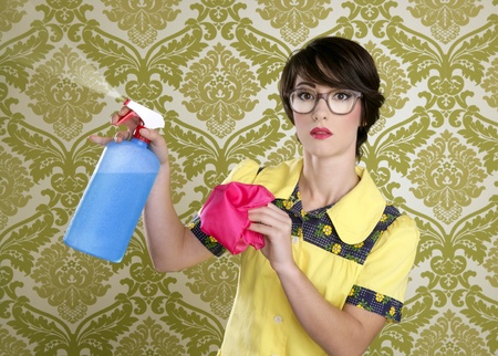 housewife nerd retro cleaning chores equipment vintage wallpaper photo