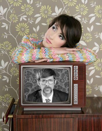 retro woman in love with tv nerd mustache hero vintage 60s wallpaper photo