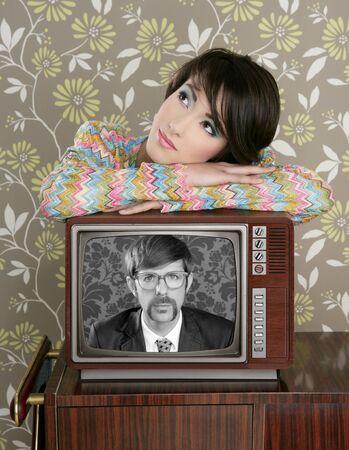 retro woman in love with tv nerd mustache hero vintage 60s wallpaper photo