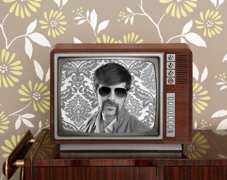 nerd retro 60s vintage tv presenter hero on wood television wallpaper photo