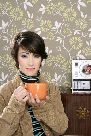 coffee cup drinking retro fashion 60s woman vintage wallpaper photo