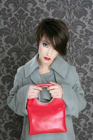 handbag red retro woman vintage fashion gray wallpaper photo
