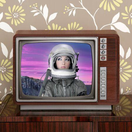 space odyssey mars astronaut on retro 60s tv moon discovery metaphor photo