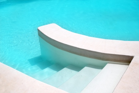 mediterranean home: white pool turquoise water clean composition in mediterranean house