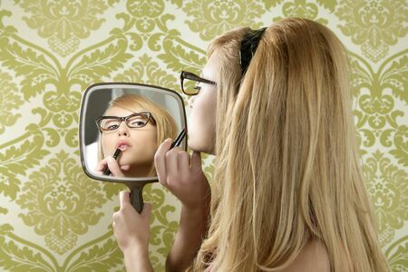 Retro mirror makeup woman lipstick vintage wallpaper photo