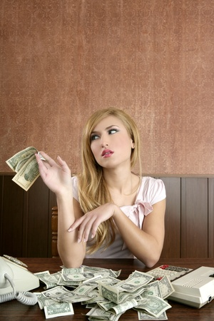 ambition retro woman lots of dollar money notes vintage office Stock Photo - 8795753