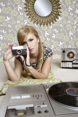 camera retro woman in vintage room wallpaper photo