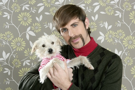 silly: geek retro man holding dog silly couple on wallpaper