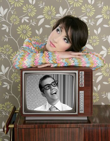 retro woman in love with tv nerd hero vintage 60s wallpaper photo