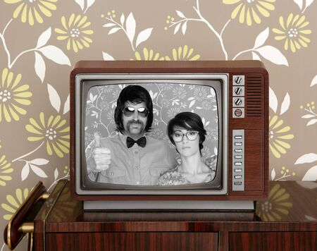 dork: wood old tv nerd silly couple retro man vintage woman on wallpaper