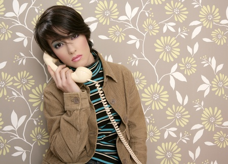 talking telephone retro woman on vintage wallpaper wall photo