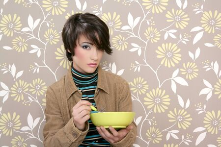 breakfast cereal bowl eating soup dish retro woman vintage wallpaper photo