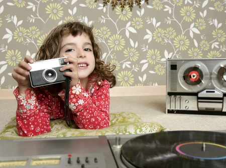 camera retro photo little girl in vintage room wallpaper photo