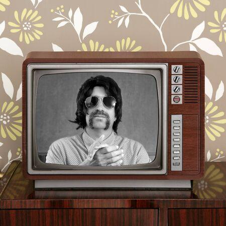 geek mustache tv presenter in retro wood television vintage wallpaper photo