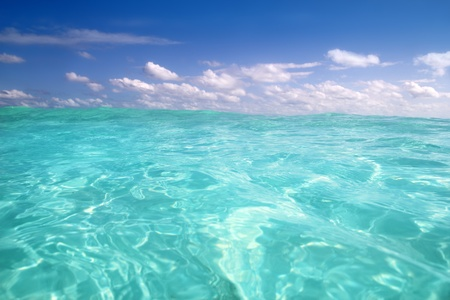sea bottom: beautiful blue caribbean sea water wave horizon Stock Photo