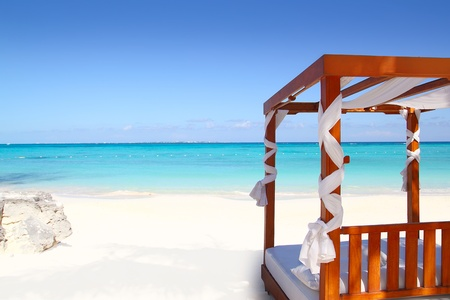 cancun: bed of wood in beach caribbean sea white sand Stock Photo