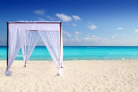 destinos: Playa Caribe caseta en masaje de boda Foto de archivo